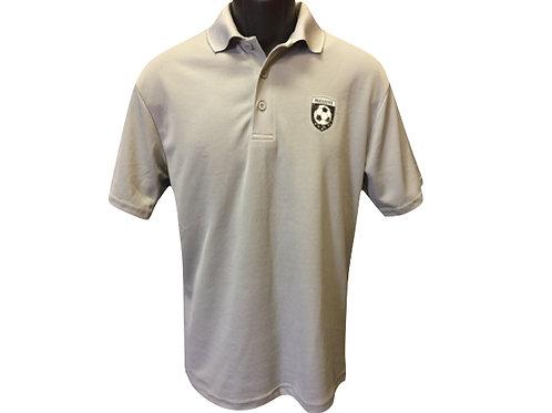 Men's Light Grey Polyester Polo Shirt with Massive Logo