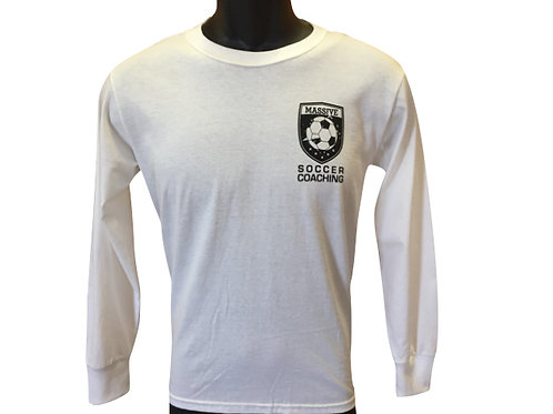 Men's white Massive Soccer Long sleeved top with vertical sleeve writing