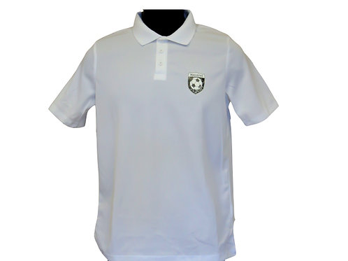 Junior Unisex White Polo Shirt with Massive Logo