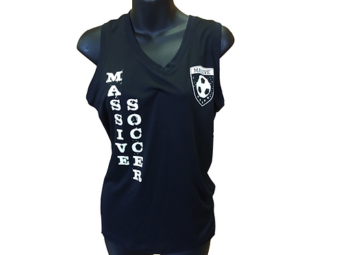 Women's Black Polyester Tank with Massive Logo and White Vertical Writing