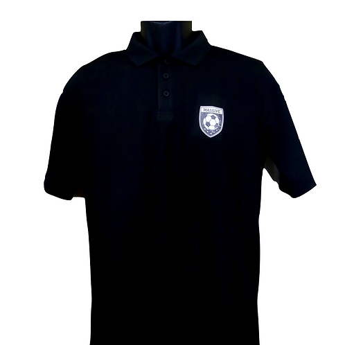 Junior Unisex Black Polo Shirt with Massive Logo