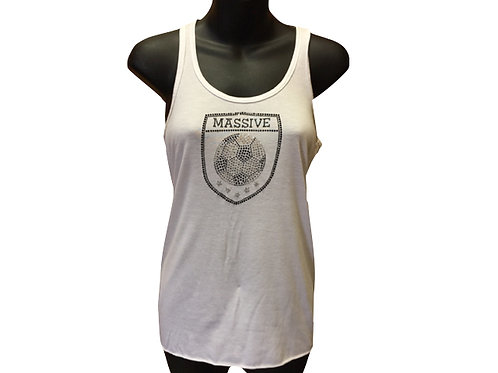 Women's Loose Fit, Racer Back Tank with Rhinestone Massive Logo