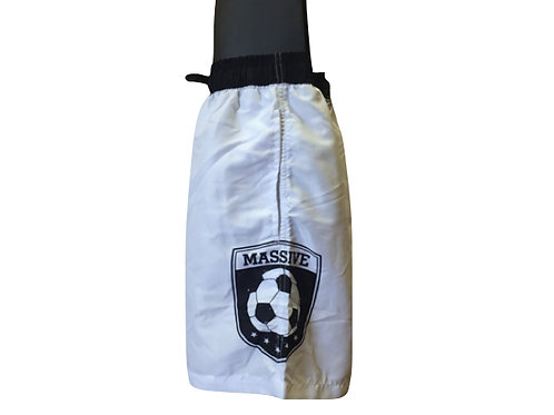 White Board Shorts with Black Trim and Massive Logo