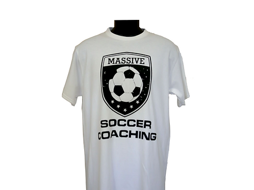 Men's white SOCCER COACHING t-shirt with Massive logo
