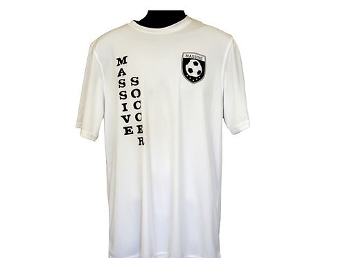 Mens White Polyester T-Shirt with Massive Logo and Black Vertical Writing
