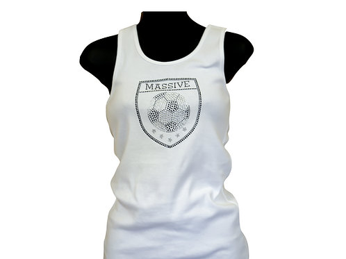 Girl's Fitted Tank Top with a Rhinestone Massive Logo