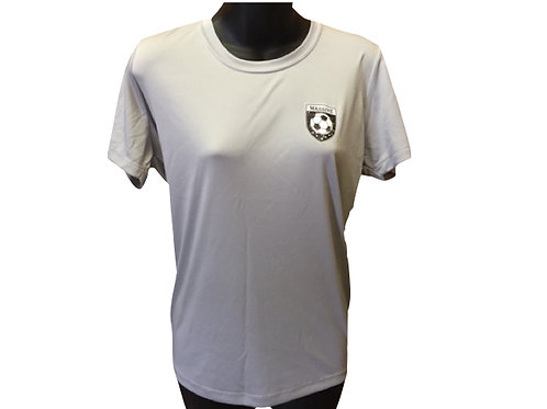 Women's Light Grey Polyester T-Shirt with Massive Logo