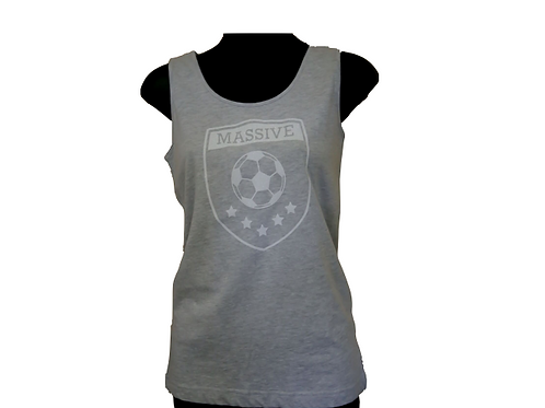 Girls Grey Fitted Tank with Glitter Massive Logo