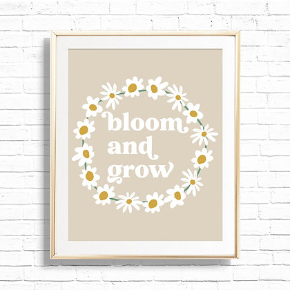 Bloom & Grow Daisy Wreath Art Print - Printable Floral Daisies 8x10 Spring quote