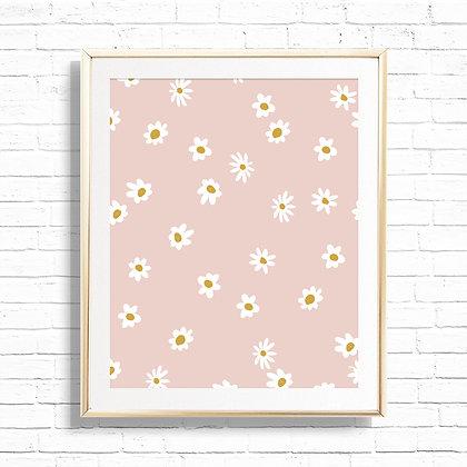 Boho Daisy Pattern Art Print