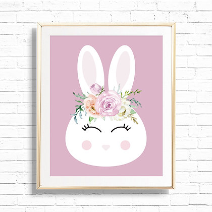 Bunny with Floral Crown Art Print - Printable 8x10 Floral Bunny Spring Home Deco