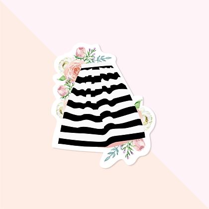 Skirt & Floral Sticker - Black White Striped Skirt Vinyl Sticker for Laptop - Fa