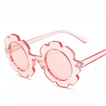 Pink Transparent Flower Sunglasses for Kids