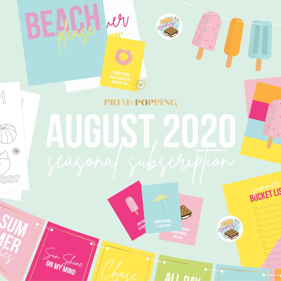 August Summer Seasonal Printable Subscription
