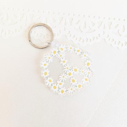 Daisy Peace Sign Acrylic Keychain - Daisy Floral Peace Symbol  Clear Key Chain