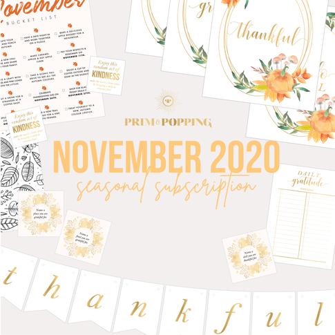 November Seasonal Printable Subscription