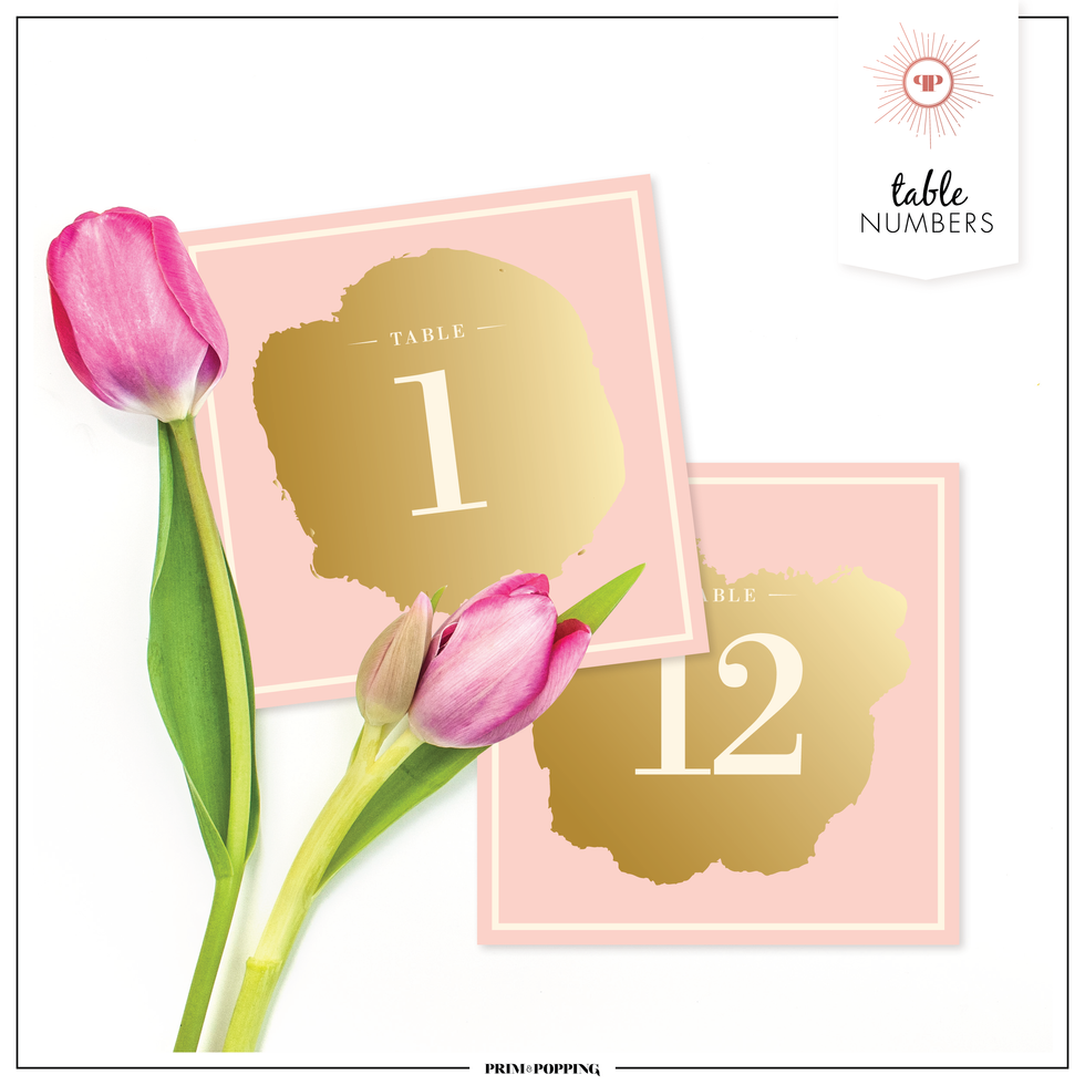 Blush & Gold | Table Numbers
