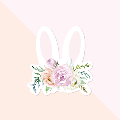 Bunny Ears with floral crown Sticker - Cute Easter Vinyl Sticker for Planner - R