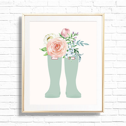 Florals in Mint Wellies Art Print - Printable Floral Rain Boots 8x10 Spring Home