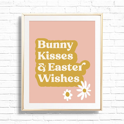 Boho Bunny Kisses & Easter Wishes Daisy Art Print - Printable Floral Boho Vibes