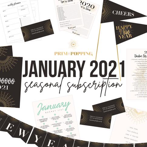 January 2021 New Years Eve Seasonal Printable Subscription