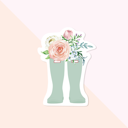 Floral Mint Green Wellies Sticker - Cute Flower Boots Vinyl Sticker for Planner