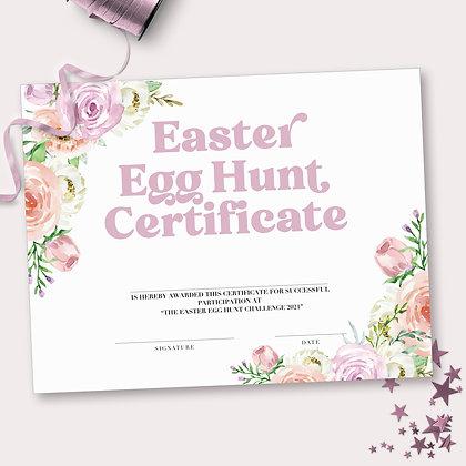 Floral Easter Egg Hunt Certificate - Printable Easter Party Egg Hunt paper diplo