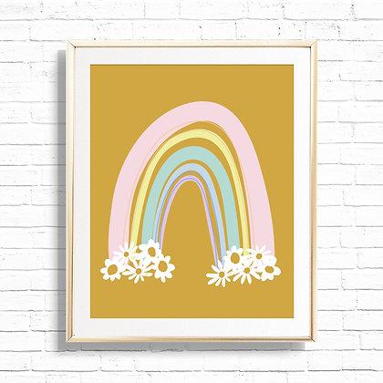 Gold Boho Rainbow Daisy Home Decor Art Print - Printable Floral Daisies Rainbow