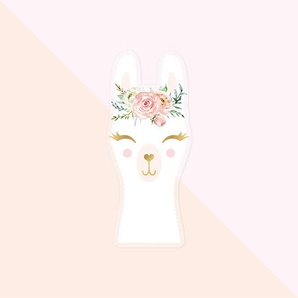 Llama with floral crown Sticker - Cute Llama Vinyl Sticker for Planner - Alpaca