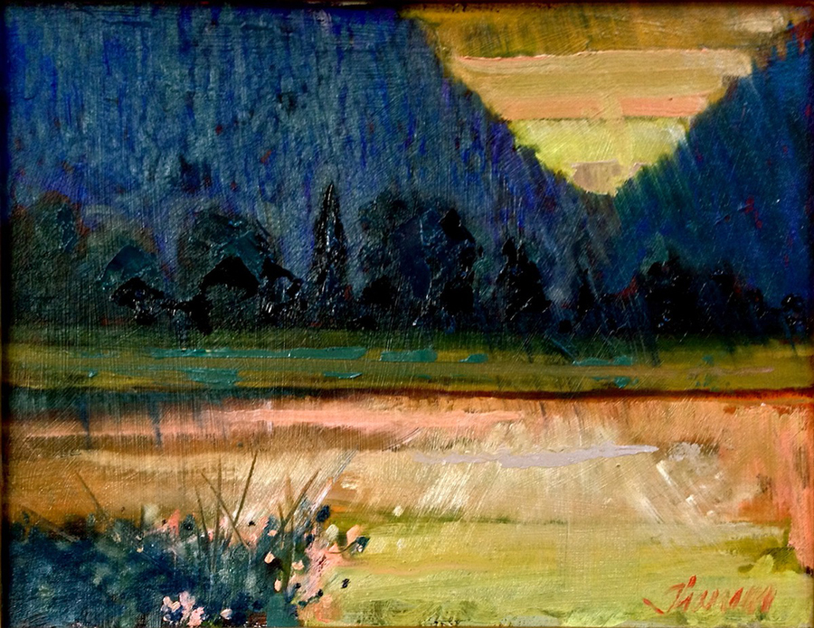 Thamm - PORRETT LAKE SUNDOWN  Oil on canvas  14_x18_