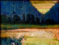 Thamm - PORRETT LAKE SUNDOWN  Oil on canvas  14_x18_