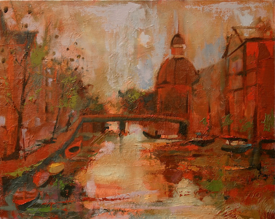 Thamm - Sunset on Amsterdam Canal