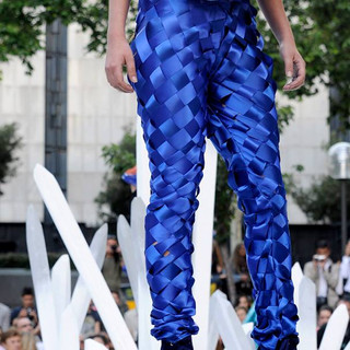 Fabric construction for Klein blue pants