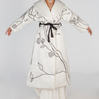 Quilted silk coat - Hand embroidered