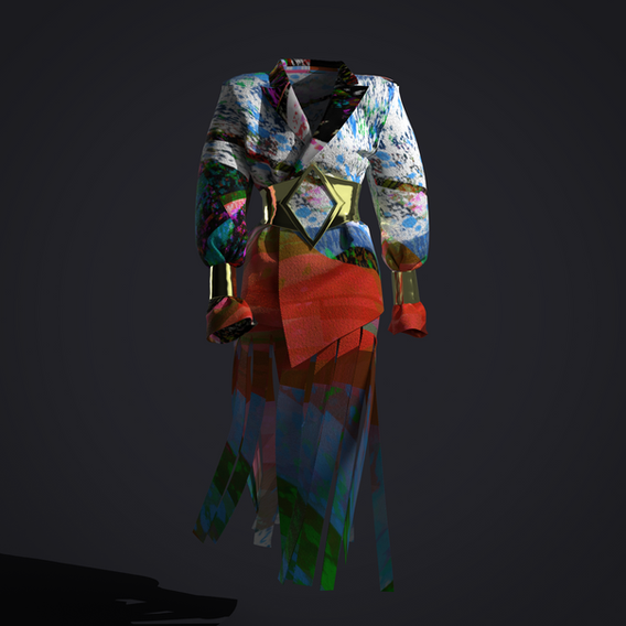 AUCTION 02  RUSH CORP 07: DESTINY  We have created it exclusively for DIGITALAX. This design contains ERC721 NFT and it will be on a Single Edition auction.   For this Auction 02 it is a completely new concept of Fractional Garment Ownership— partnering with renowned Crypto Artist ROBNΞSS, for modular ERC-1155 material patterns/textures that are used by DIGITALAX's Global Designer Network in the master ERC-721 garments.  READ THE ARTICLE - CLIC HERE: