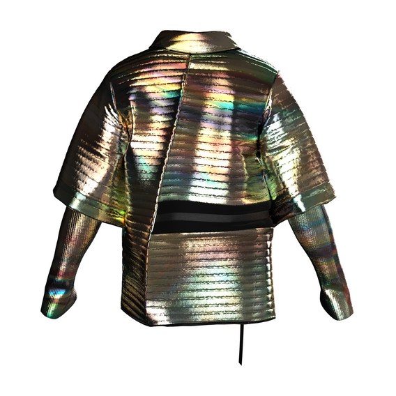 """The Rainbow NFT  is bright gold with rainbow staining to shine brighter than any other jacket in the physical universe or the Metaverse. The NFT is dancing to the track """"Kill Me"""" by Daichi Yamamoto and Mick Jenkins."""