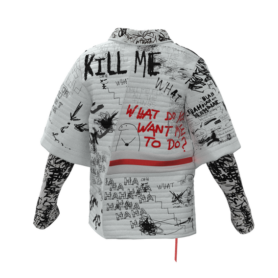 """The Rebellion NFT  is a street art inspired jacket featuring lyrics from the track """"Kill Me"""" and perspectives from the future of our digital society. The NFT is dancing to the track """"Kill Me"""" by Daichi Yamamoto and Mick Jenkins."""