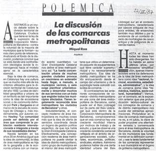 La discusión de las comarcas metropolitanas