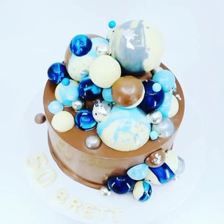 Blue Sphere Smash Cake
