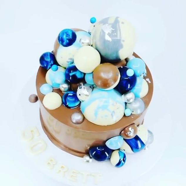 Blue Sphere Smash Cake