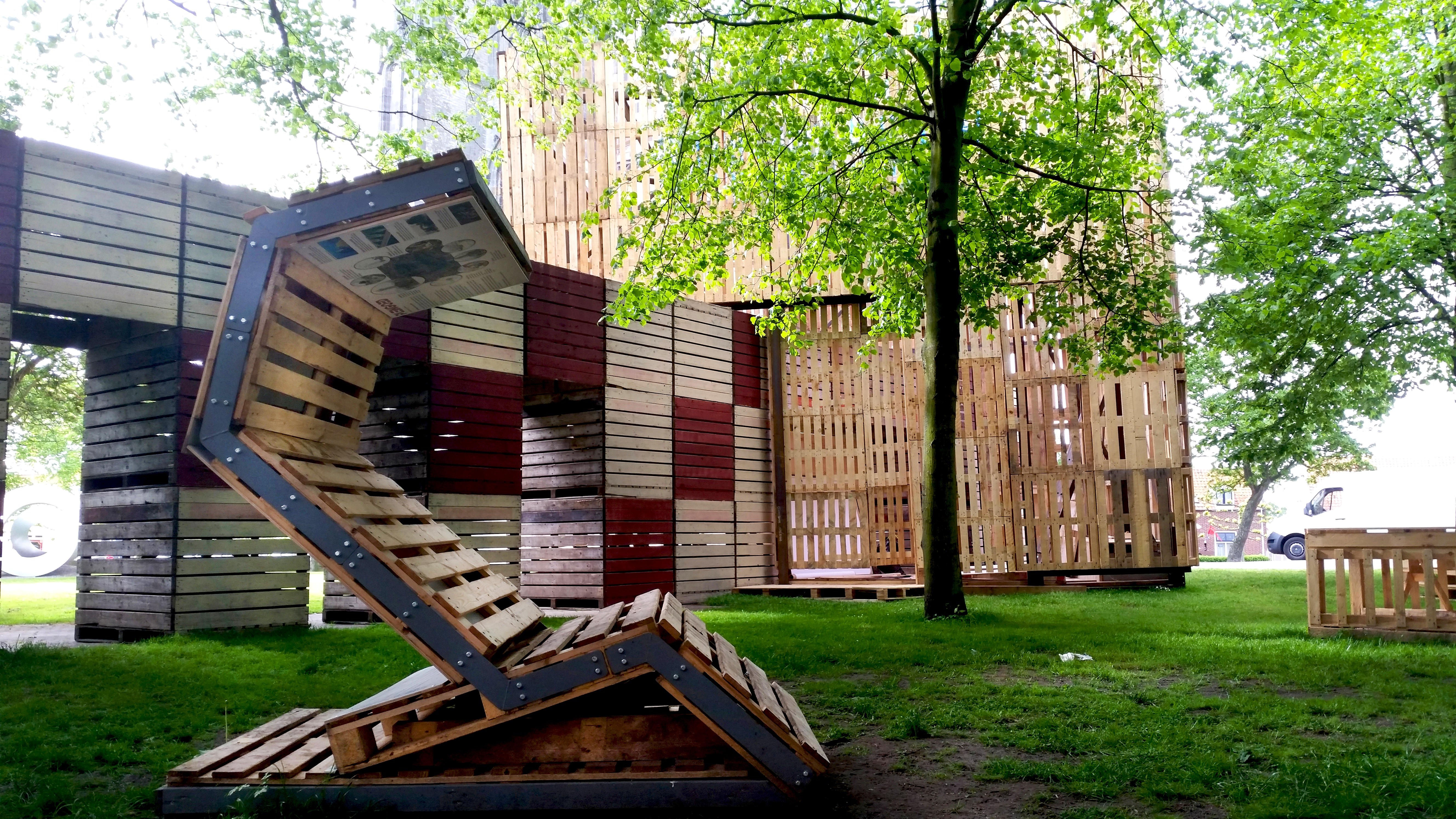 recycled pop-up pavilion