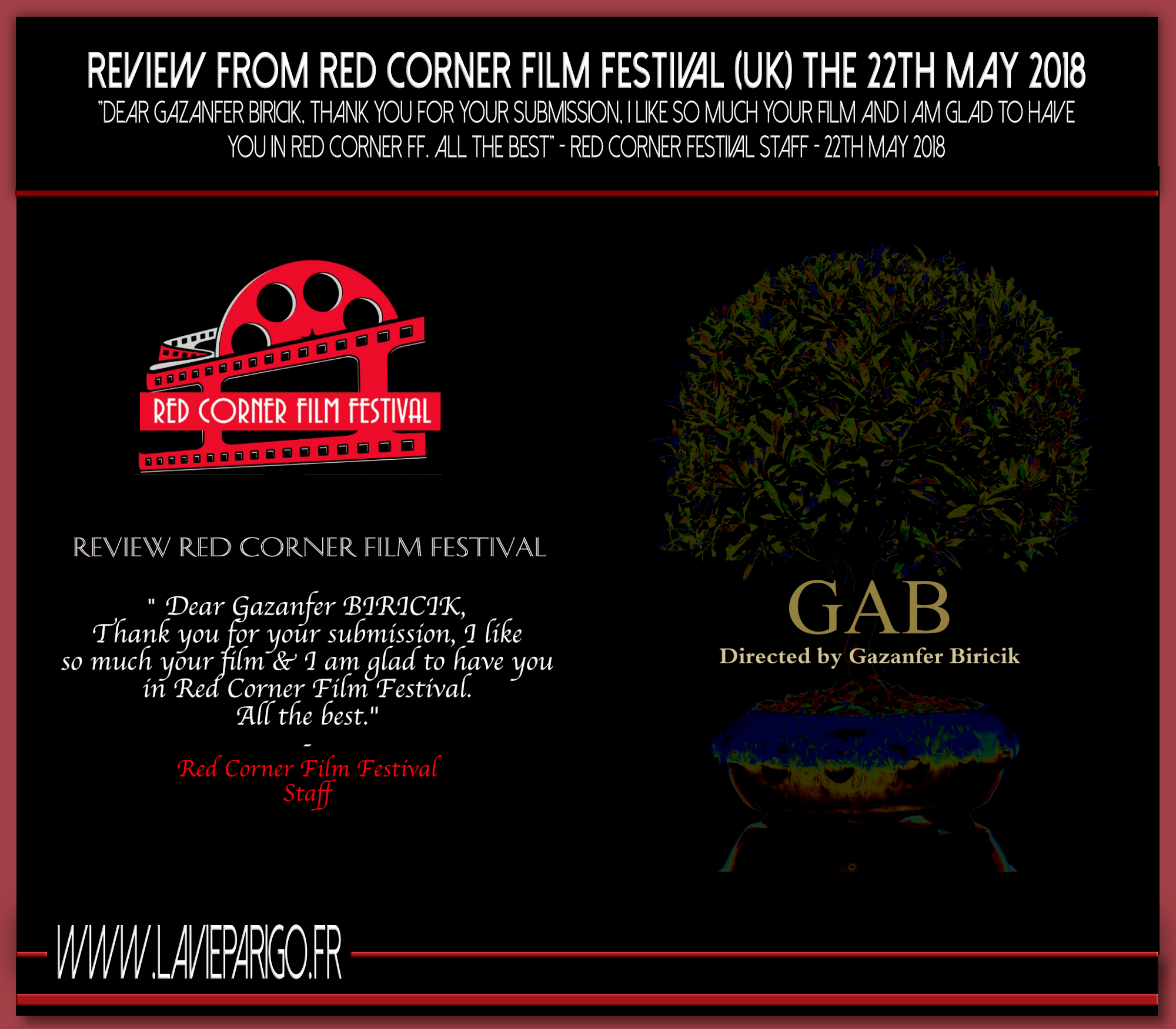 Review from Red corner film festival (UK) the 22th may 2018