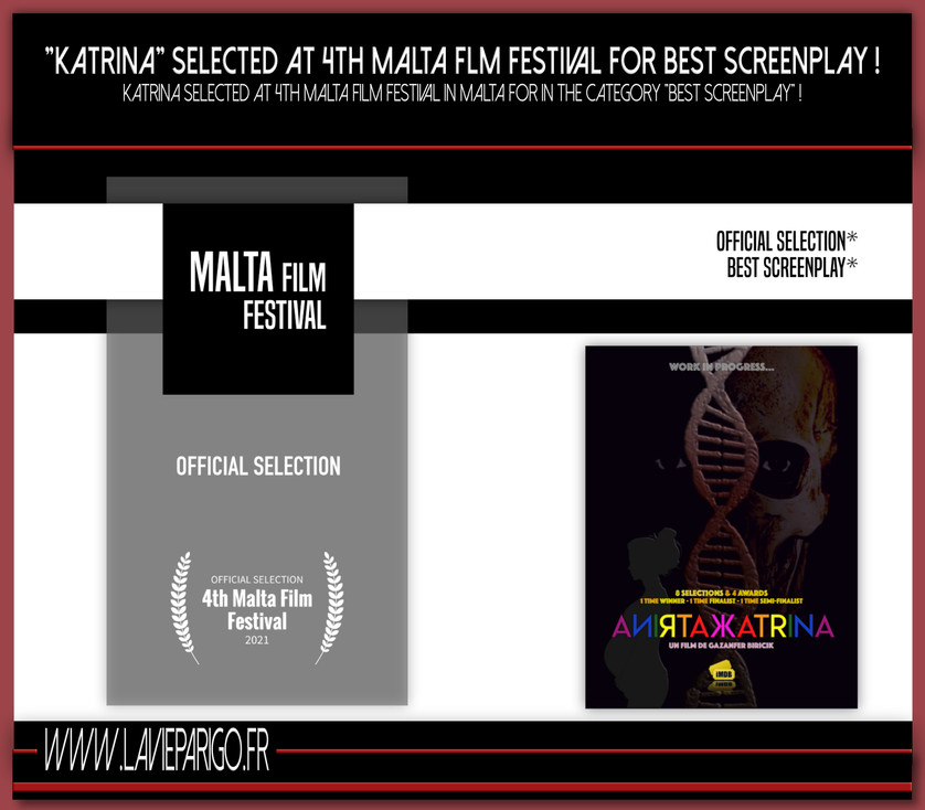 "KATRINA selected at Malta Film Festival ""Best Screenplay""!"