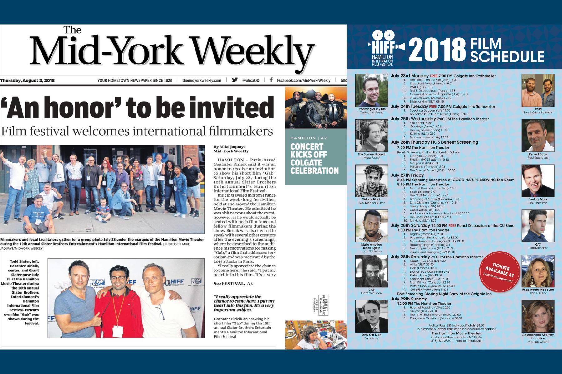 """GAB en une du """"The Mid-York Weekly"""""""