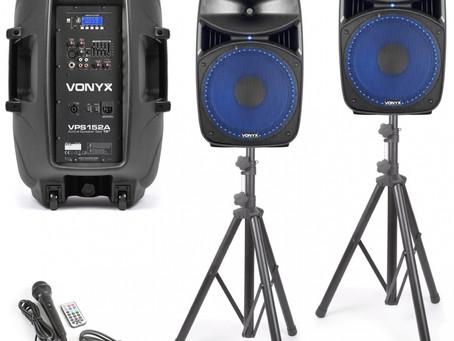 """128dB 26kg blåtand 1000W, USB SD spelare, 2 högtalare, 2x15"""" basar, 1 mixer, EQ, 1 mikrofon, 2999kr"""