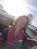 Stacey on a boat