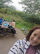 Stacey cycling with family