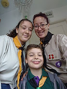 stacey and children in scout uniform