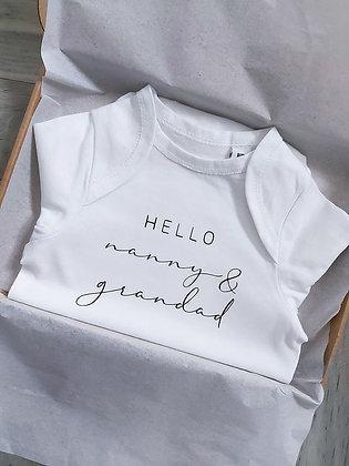 Hello Nanny & Grandad Pregnancy Announcement Baby Vest