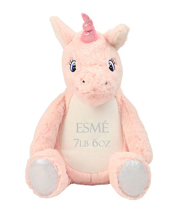 Personalised Pink Unicorn Soft Toy